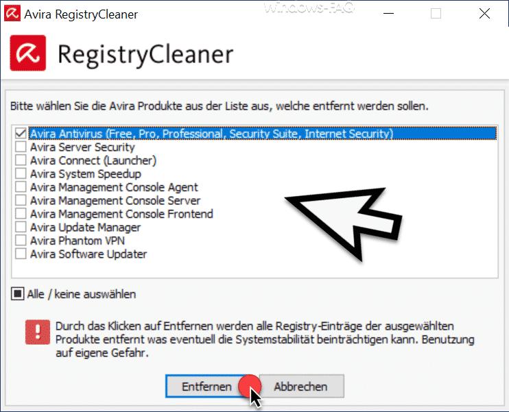 Avira RegistryCleaner