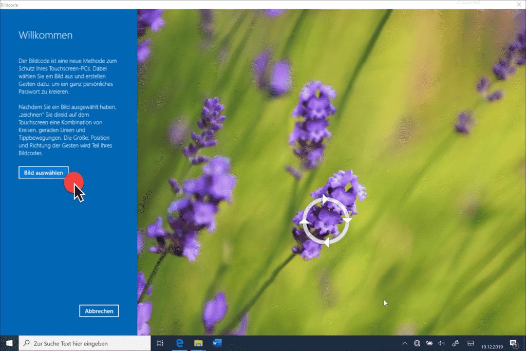 Bildcode am Touchscreen zeichen
