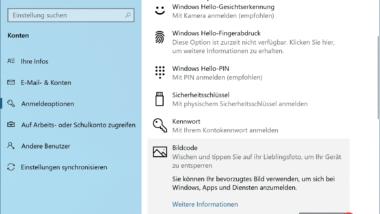 Windows 10 Anmeldung per Bildcode