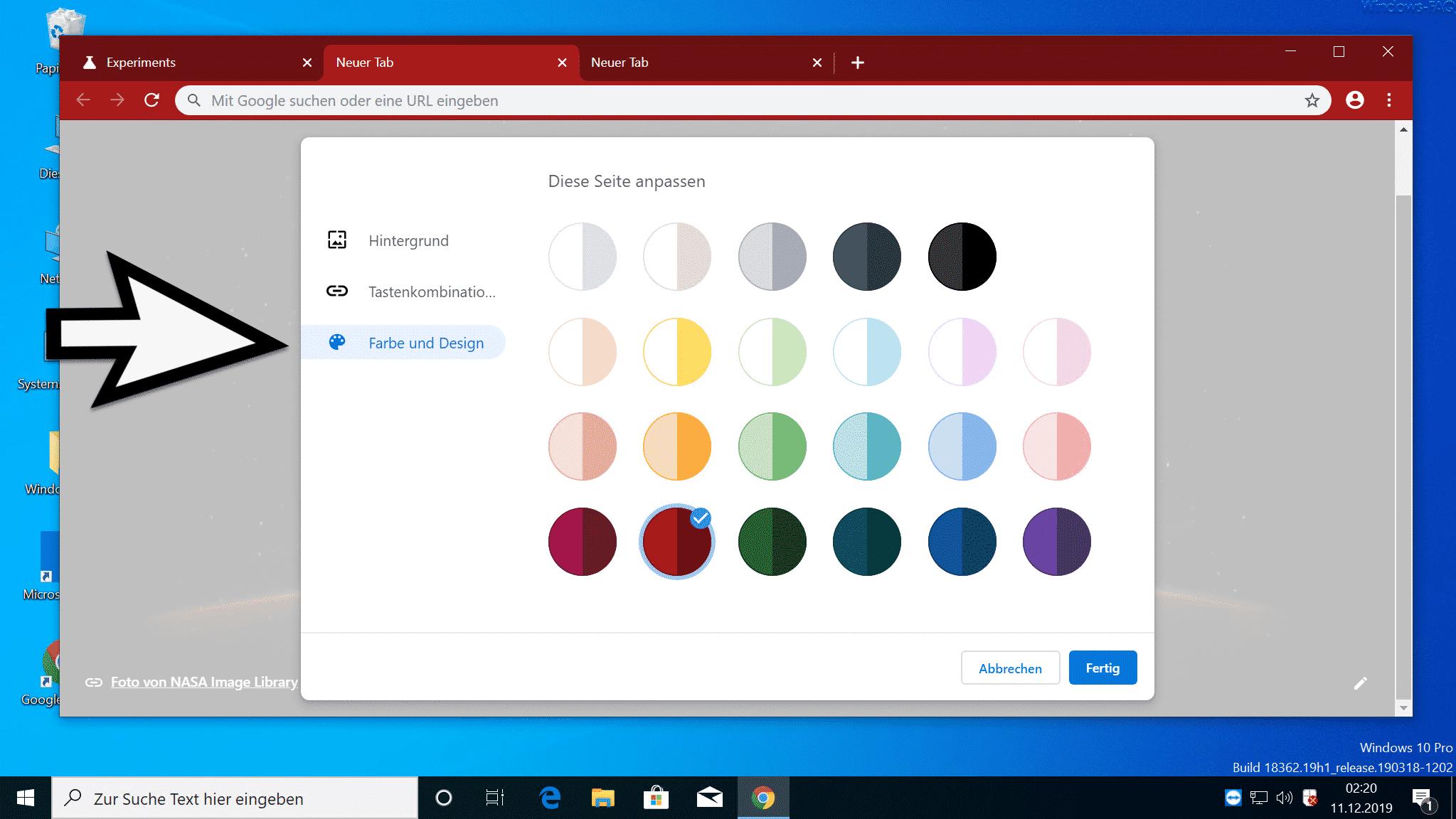 Farbe und Design Chrome wählen