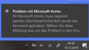 Problem mit Microsoft-Konto – Ihr Microsoft-Konto muss repariert werden …