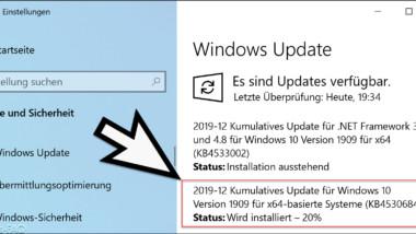 Update KB4530684 für Windows 10 Version 1909 und 1903 erschienen (18362.535 und 18363.535)
