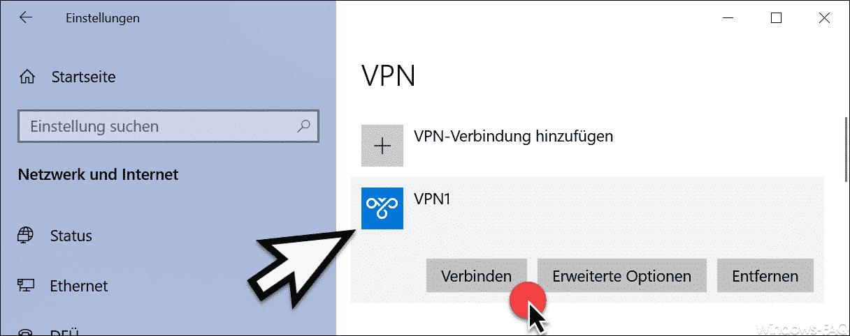 VPN Verbindung hinzugefügt
