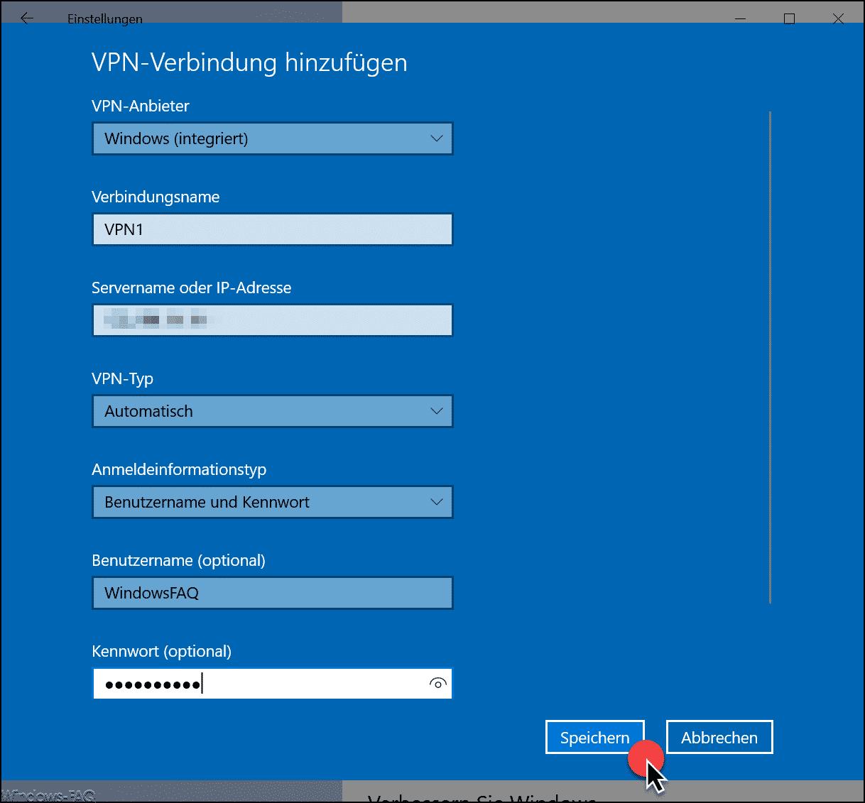 VPN Verbindungsdaten erfassen