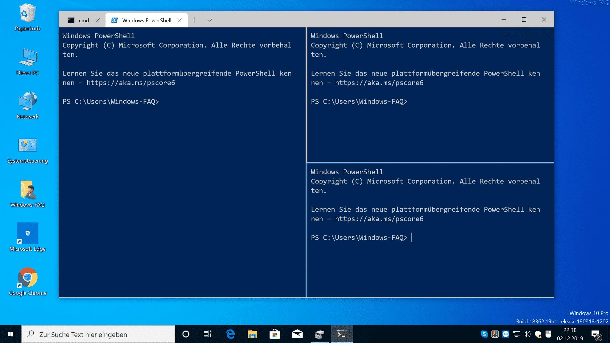 Windows Terminal Eingabeaufforderung & PowerShell