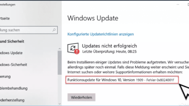 Windows Update Fehlercode 0x8024001f