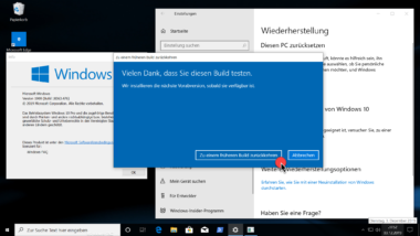 Deinstallation von Windows 10 Version 1909