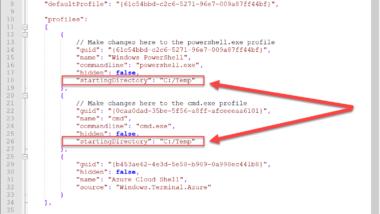 Start-Verzeichnis (Profilverzeichnis) vom Windows Terminal ändern