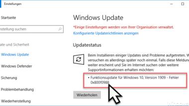 0x800f0988 Fehlercode beim Windows 10 Update und 1909 Upgrade