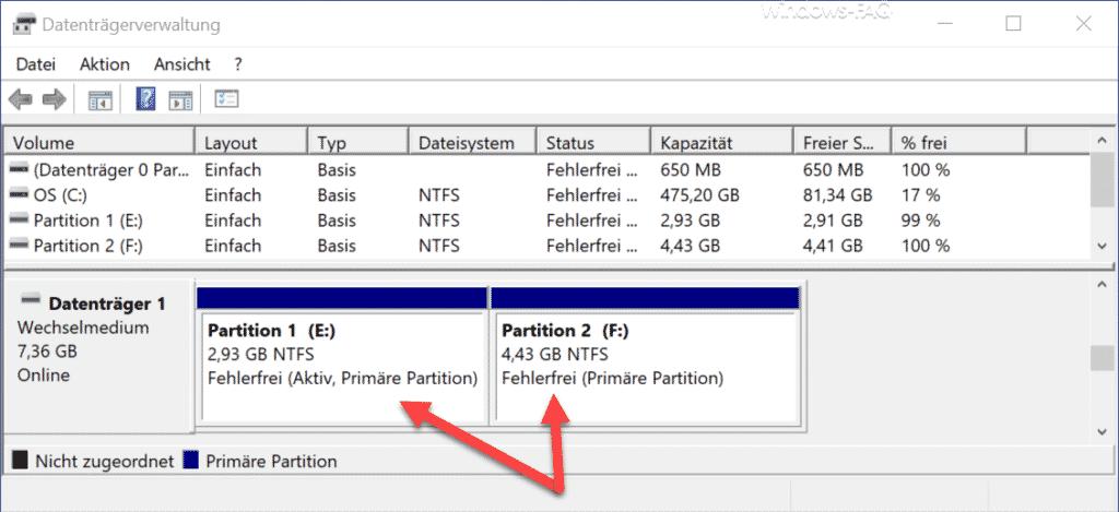 2 NTFS Partitionen