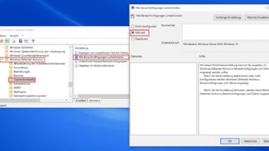 Alle Benachrichtigungen vom Windows Defender ausschalten