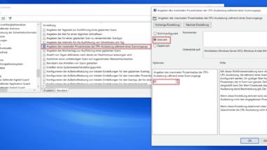 CPU Last vom Windows Defender per Gruppenrichtlinie beschränken