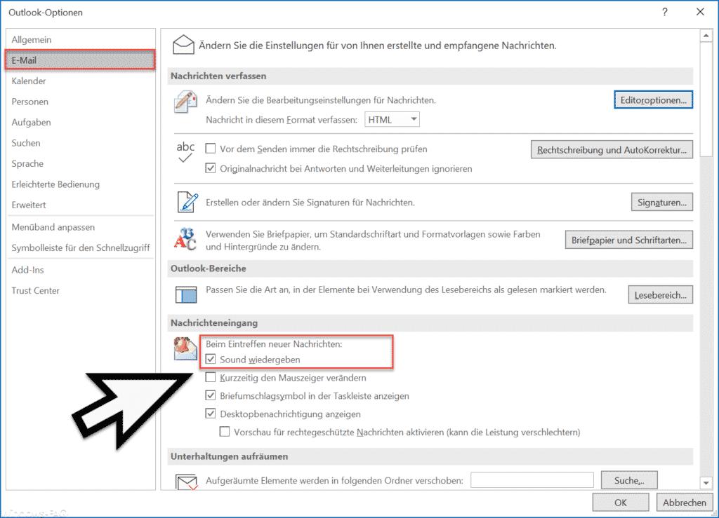 Beim Eintreffen neuer E-Mails Sound wiedergeben im Outlook