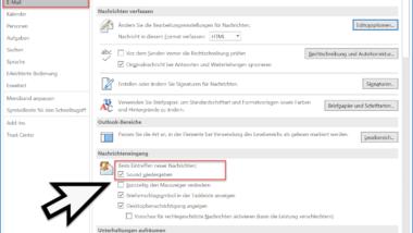 Ton (Sound) wiedergeben beim Eingang neuer E-Mails im Outlook