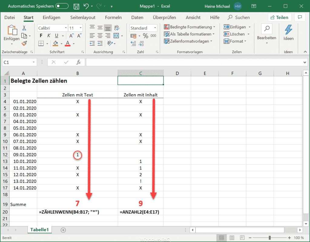 Belegte Zellen im Excel zählen