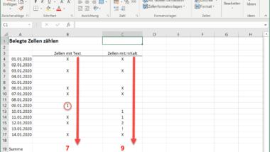 Belegte Zellen im Excel zählen – Excel Tipp