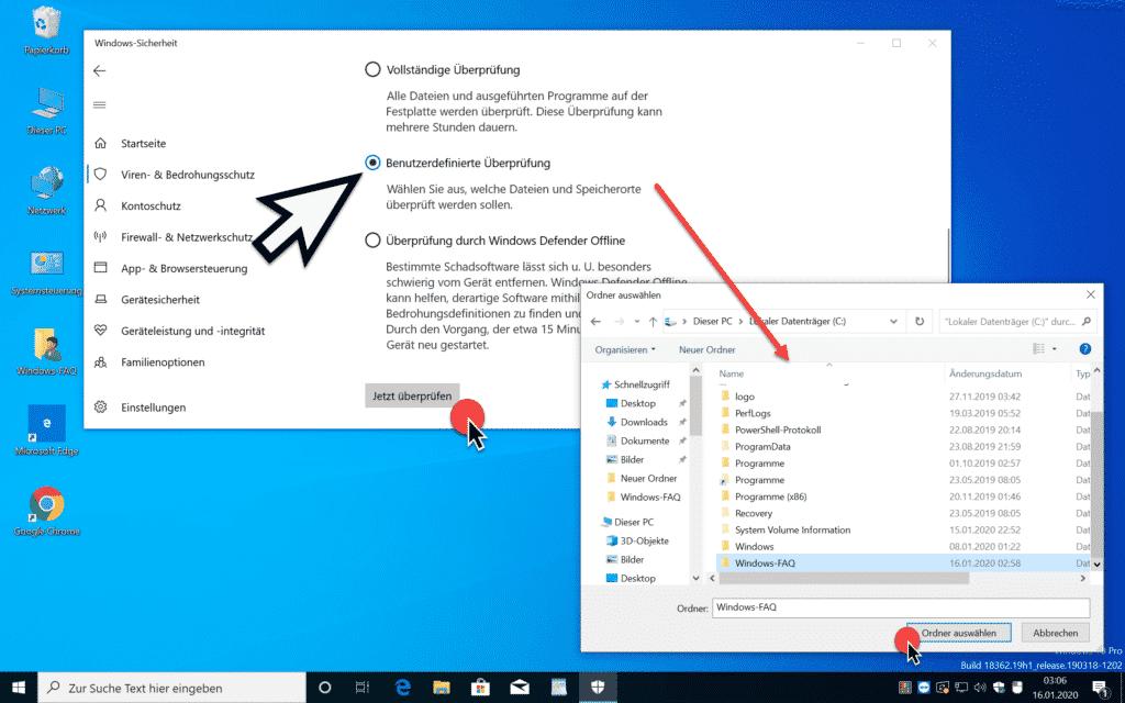 Benutzerdefinierte Überprüfung Windows-Sicherheit