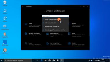 Diesen PC zurücksetzen bei Windows 10