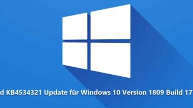 Download KB4534321 Update für Windows 10 Version 1809 Build 17763.1012