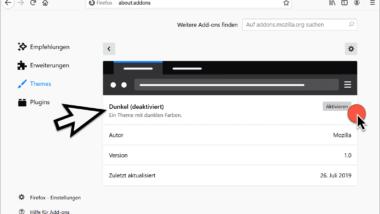 Firefox Dark Theme aktivieren (Dunkler Modus)