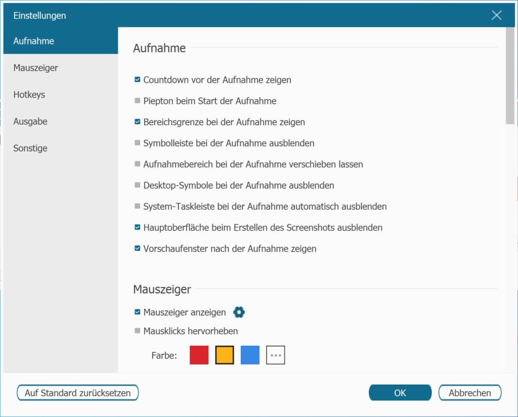FonePaw Screen Recoder Einstellungen Aufnahme