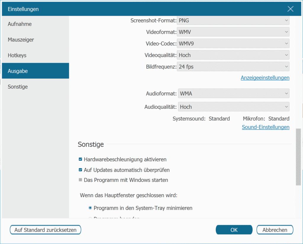 FonePaw Screen Recoder Einstellungen Ausgabe