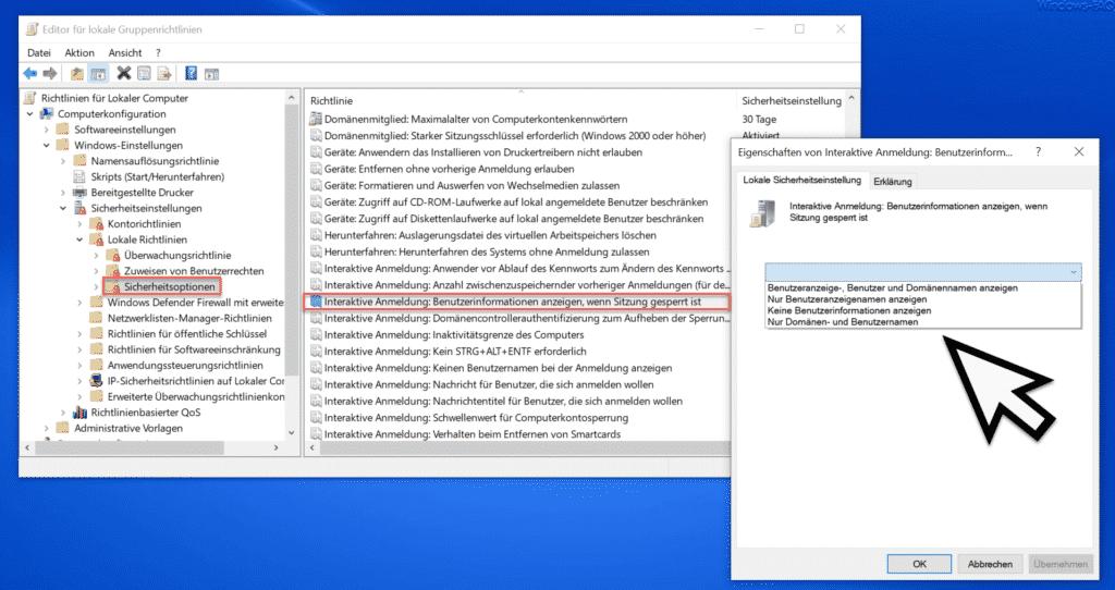 Interaktive Anmeldung Benutzerinformationen anzeigen, wenn Sitzung gesperrt ist