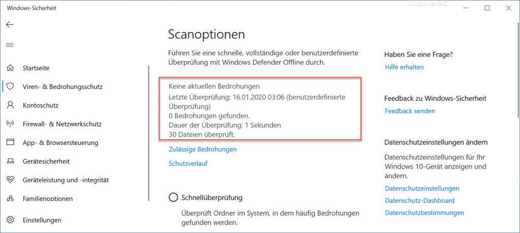 Letzte Überprüfung Windows-Sicherheit