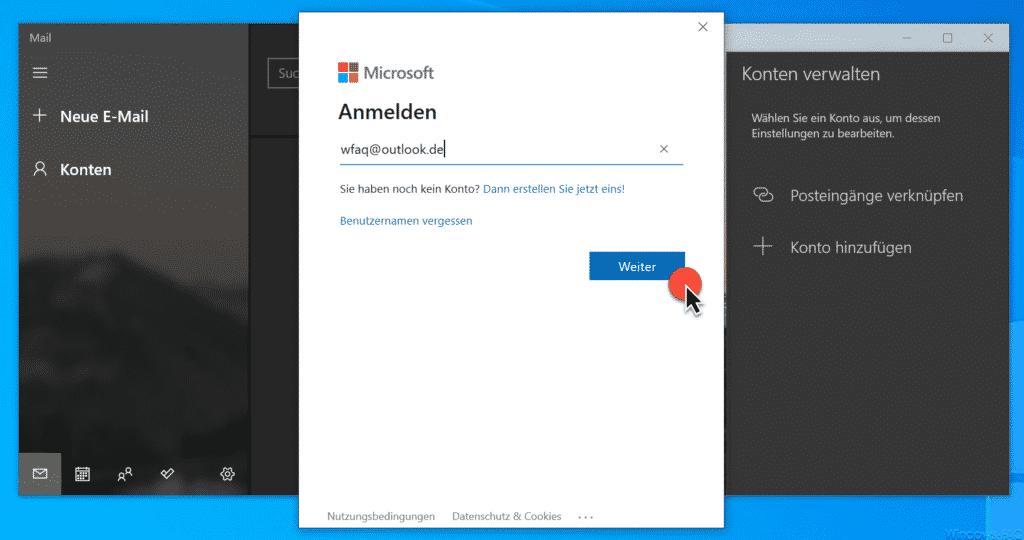 Microsoft Anmelden mit E-Mail Adresse