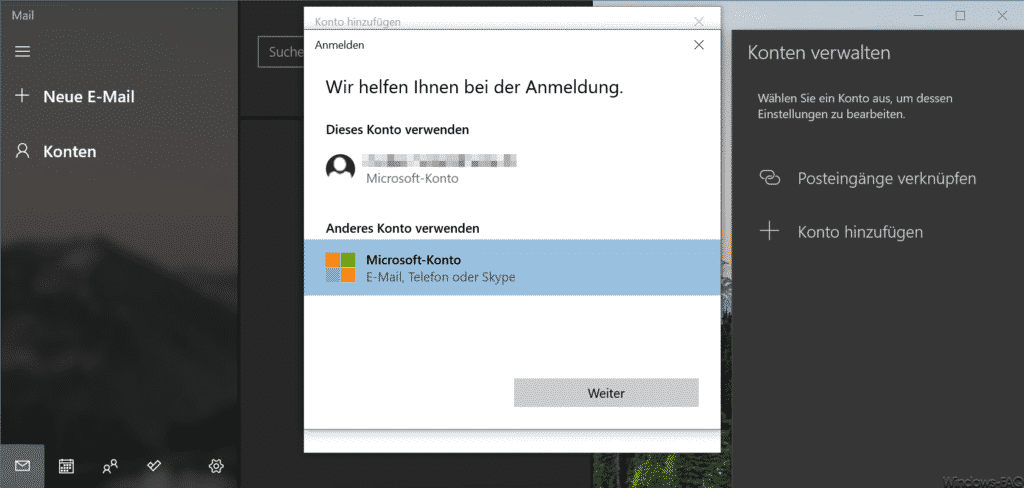 Microsoft Konto Windows 10 Mail App