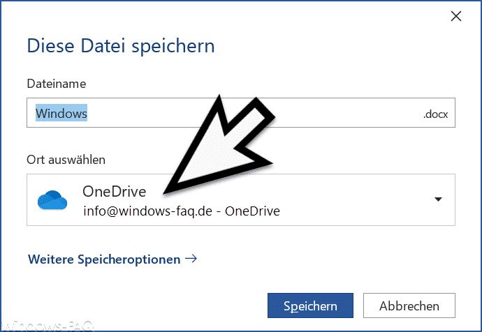 OneDrive Speicher Dialog Word