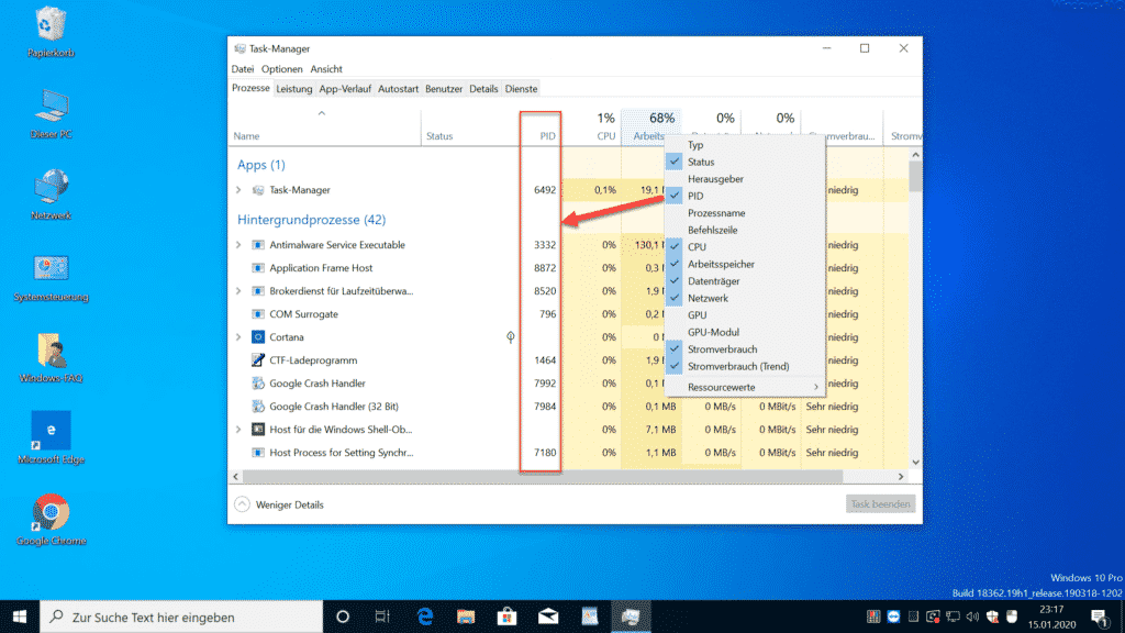 PID Windows Task Manager