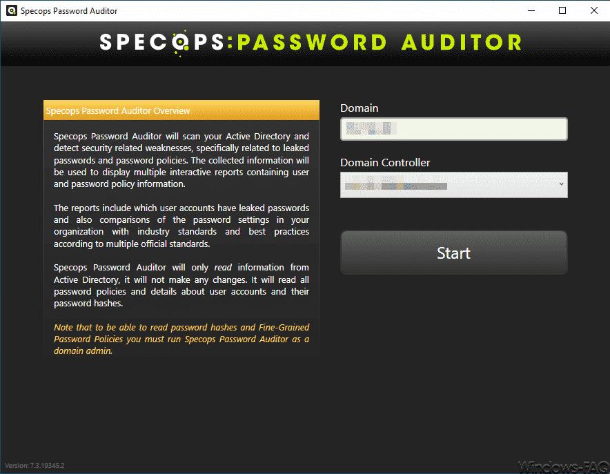 Specops Password Auditor Start