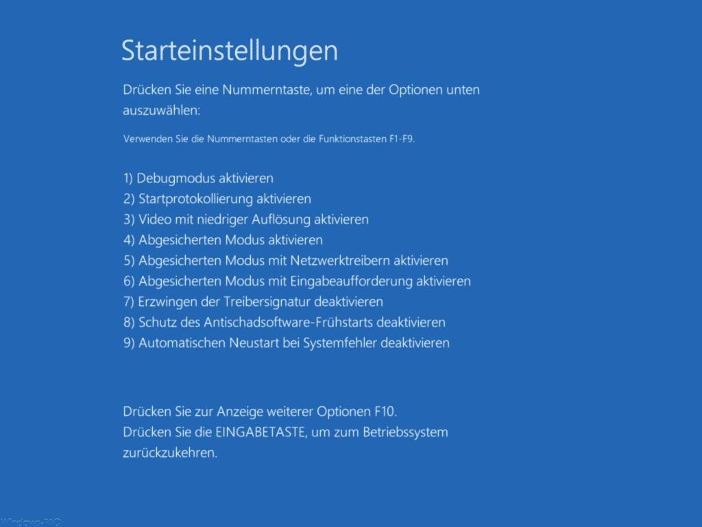 Starteinstellungen Windows 10 Nummerntaste oder Funktionstaste