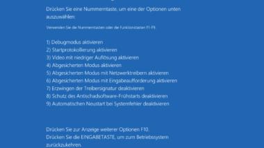 Windows 10 im abgesicherten Modus mit Netzwerk starten