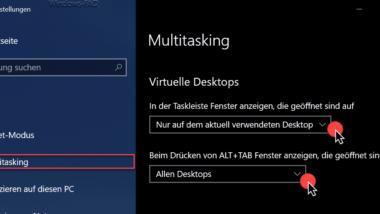 Taskleisten Einstellungen und Fensterdarstellung bei virtuellen Desktops