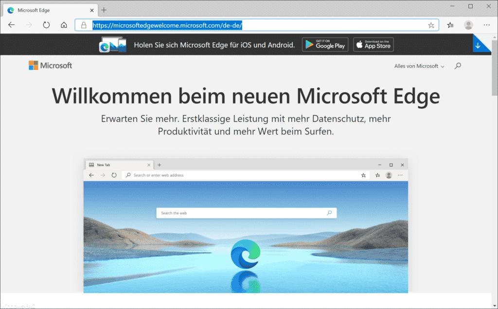Willkommen beim neuen Microsoft Edge
