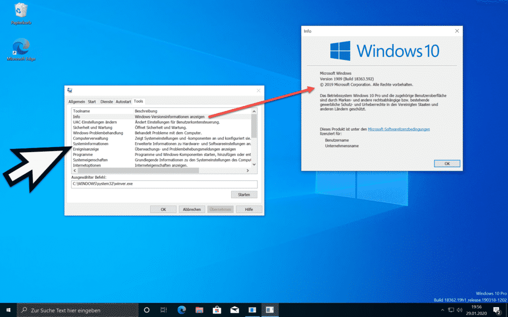 Windows Tools über MSCONFIG starten