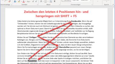 Genialer Word Tipp – Mit Shift & F5 schnell zu den letzten Positionen im Dokument springen