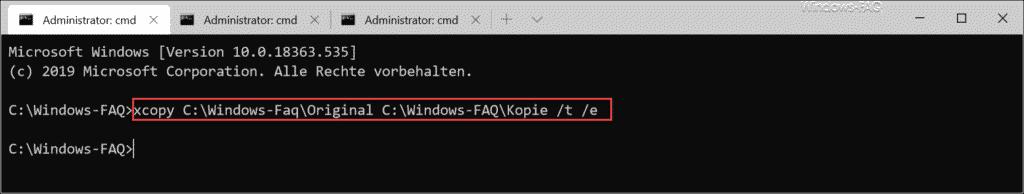 xcopy Dateistruktur