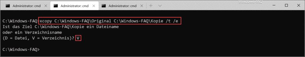 xcopy Dateistruktur Verzeichnis