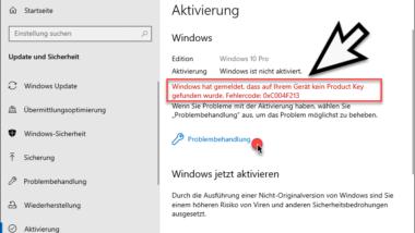 Windows Aktivierungsfehler Code 0xC004F213