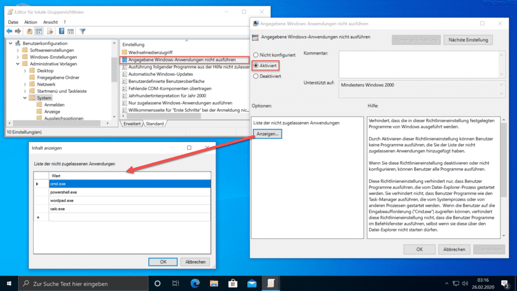 Angegebene Windows-Anwendungen nicht ausführen