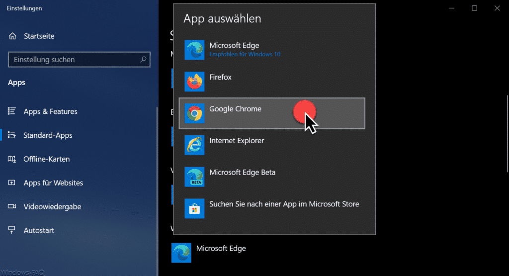 App auswählen Google Chrome