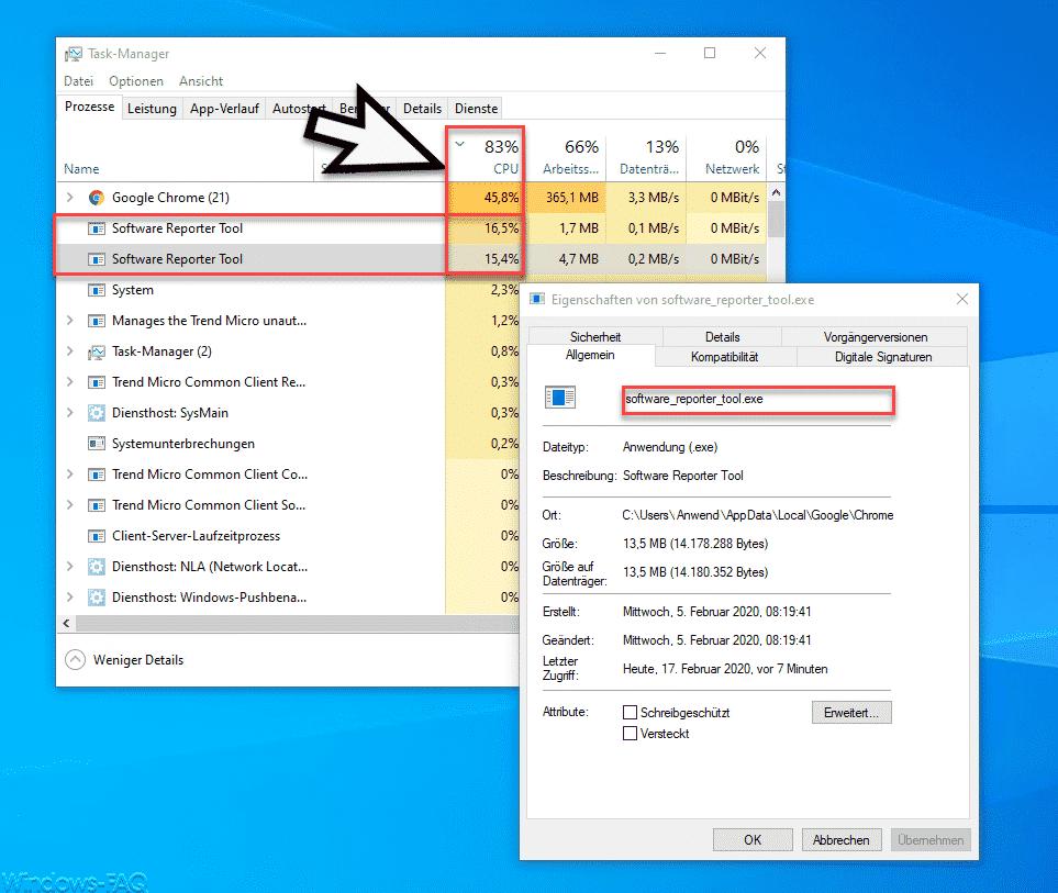 Hohe CPU Auslastung Software_Reporter_Tool.exe
