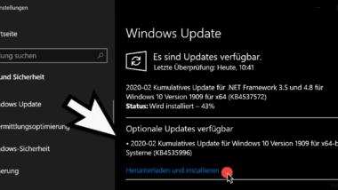 Update KB4535996 für Windows 10 Version 1903 und 1909 zum Download (Build 18362.693 und 18363.693)