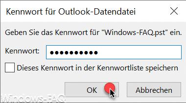 Outlook Datendatei .PST mit Kennwort schützen