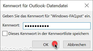 Kennwort für Outlook Datendatei