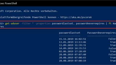 Datum der letzten Passwortänderung im Active Directory abfragen