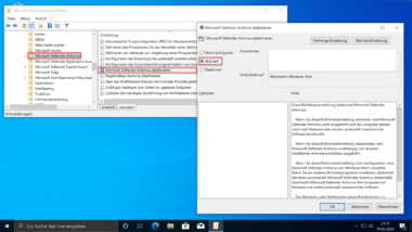 Windows Defender Antivirus per GPO deaktivieren